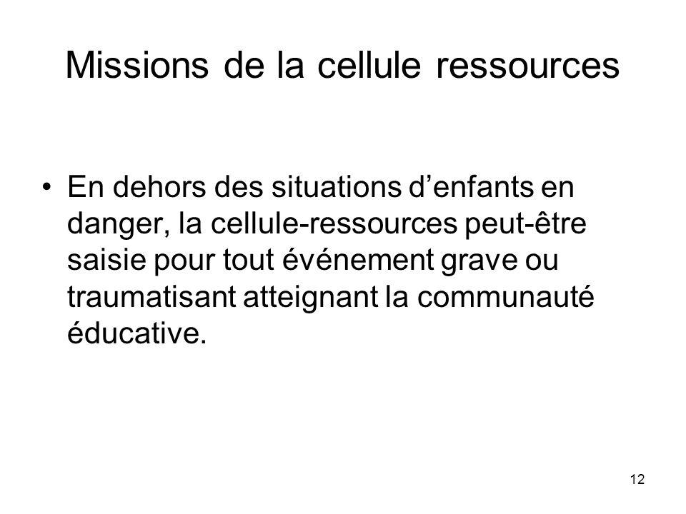 12 Missions de la cellule ressources En dehors des situations denfants en danger, la cellule-ressources peut-être saisie pour tout événement grave ou