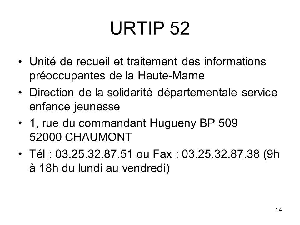 14 URTIP 52 Unité de recueil et traitement des informations préoccupantes de la Haute-Marne Direction de la solidarité départementale service enfance