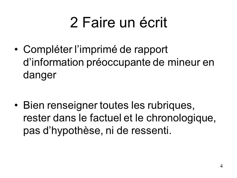4 2 Faire un écrit Compléter limprimé de rapport dinformation préoccupante de mineur en danger Bien renseigner toutes les rubriques, rester dans le fa