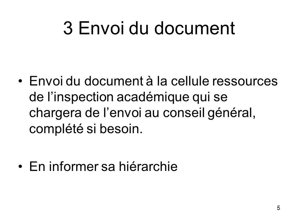 5 3 Envoi du document Envoi du document à la cellule ressources de linspection académique qui se chargera de lenvoi au conseil général, complété si be