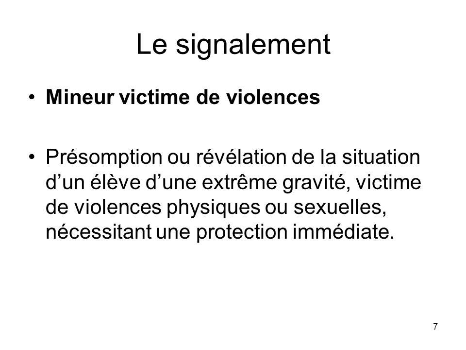 7 Le signalement Mineur victime de violences Présomption ou révélation de la situation dun élève dune extrême gravité, victime de violences physiques