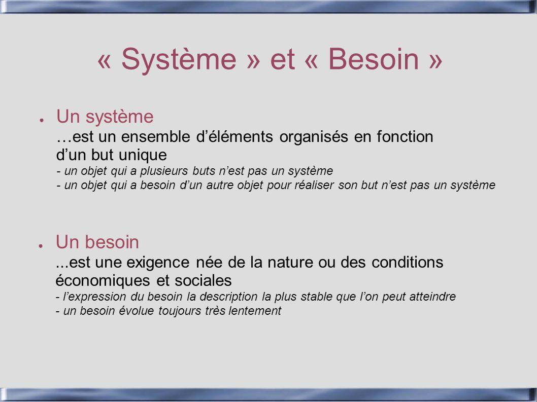 « Système » et « Besoin » Un système …est un ensemble déléments organisés en fonction dun but unique - un objet qui a plusieurs buts nest pas un systè