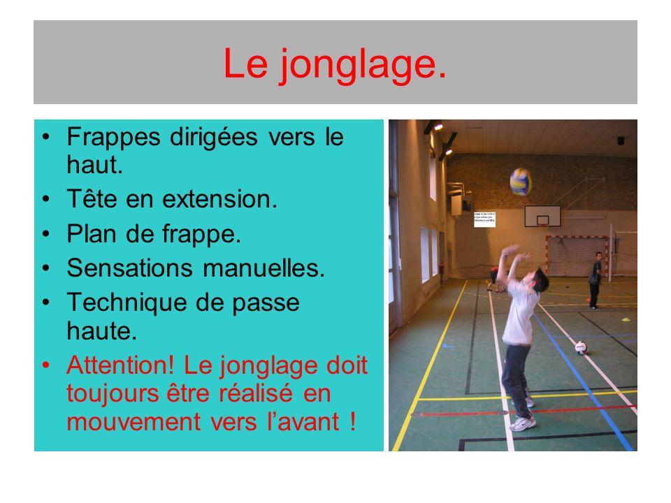 Le jonglage. Frappes dirigées vers le haut. Tête en extension. Plan de frappe. Sensations manuelles. Technique de passe haute. Attention! Le jonglage