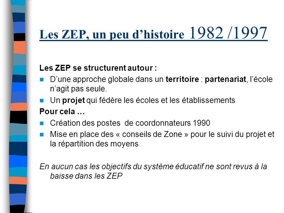 Les ZEP, un peu dhistoire 1982 /1997 Les ZEP se structurent autour : Dune approche globale dans un territoire : partenariat, lécole nagit pas seule.