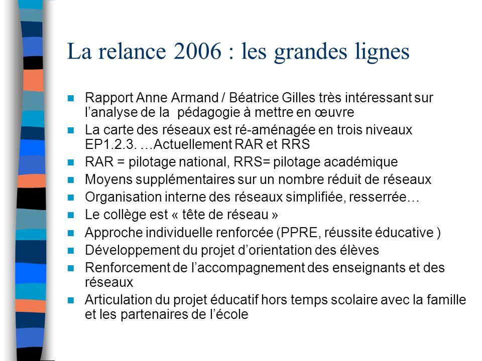 La relance 2006 : les grandes lignes Rapport Anne Armand / Béatrice Gilles très intéressant sur lanalyse de la pédagogie à mettre en œuvre La carte des réseaux est ré-aménagée en trois niveaux EP1.2.3.
