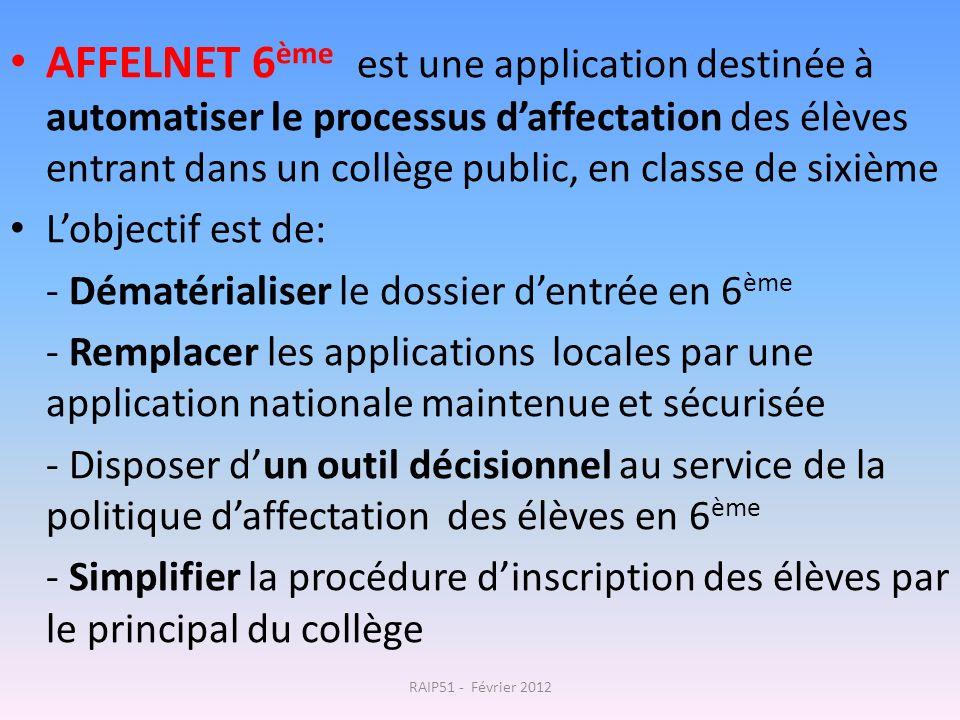 AFFELNET 6 ème est une application destinée à automatiser le processus daffectation des élèves entrant dans un collège public, en classe de sixième Lo