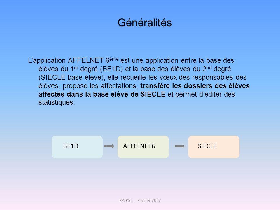 Généralités Lapplication AFFELNET 6 ème est une application entre la base des élèves du 1 er degré (BE1D) et la base des élèves du 2 nd degré (SIECLE