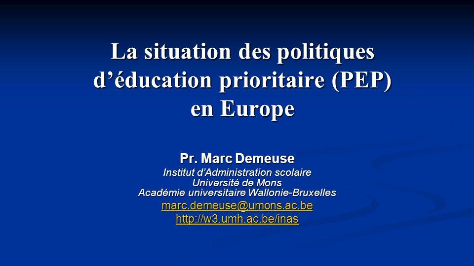 EuroPEP Comparaison des politiques déducation prioritaire en Europe Programme Socrates 6.1.2 et 6.2.