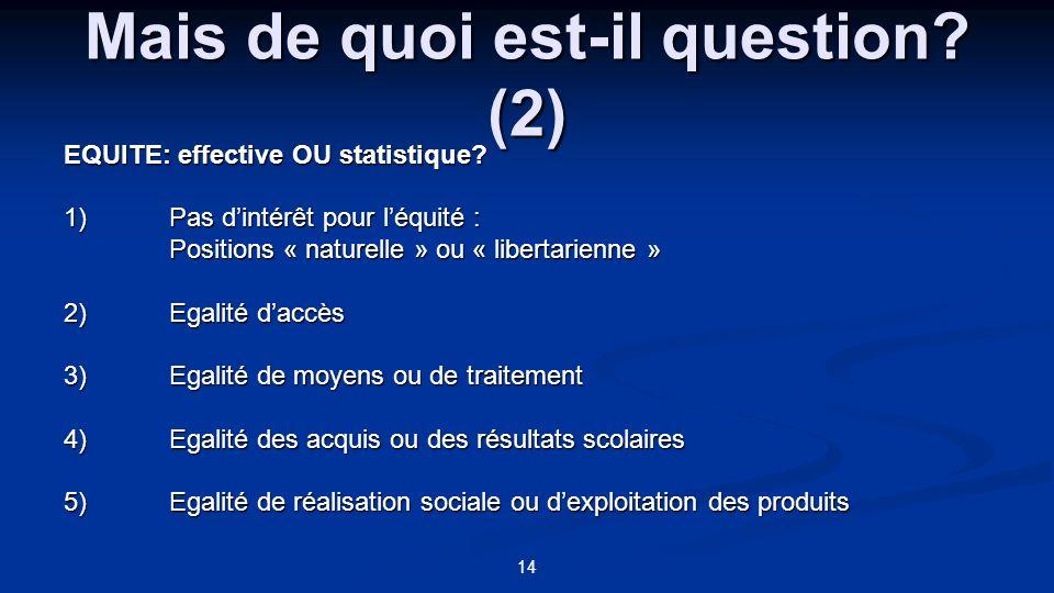 14 Mais de quoi est-il question? (2) EQUITE: effective OU statistique? 1)Pas dintérêt pour léquité : Positions « naturelle » ou « libertarienne » 2)Eg