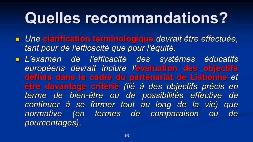 16 Quelles recommandations? Une clarification terminologique devrait être effectuée, tant pour de lefficacité que pour léquité. Une clarification term