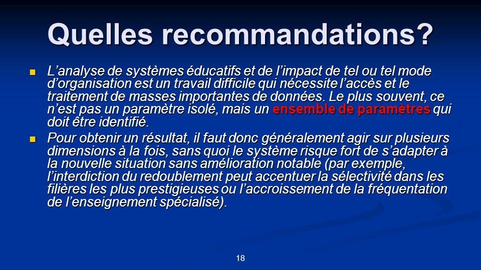 18 Quelles recommandations? Lanalyse de systèmes éducatifs et de limpact de tel ou tel mode dorganisation est un travail difficile qui nécessite laccè