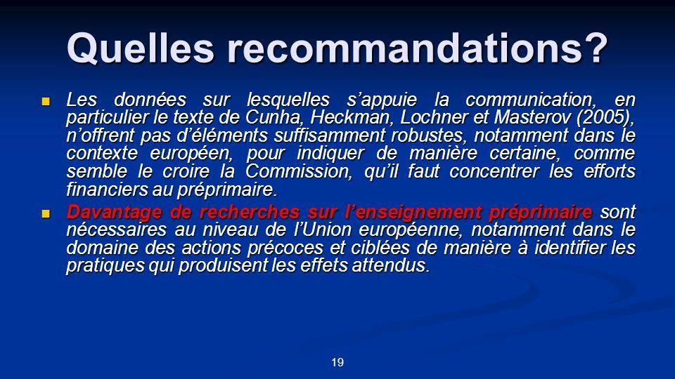 19 Quelles recommandations? Les données sur lesquelles sappuie la communication, en particulier le texte de Cunha, Heckman, Lochner et Masterov (2005)