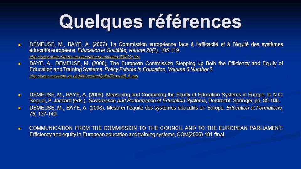 Quelques références DEMEUSE, M., BAYE, A. (2007). La Commission européenne face à lefficacité et à léquité des systèmes éducatifs européens. Education