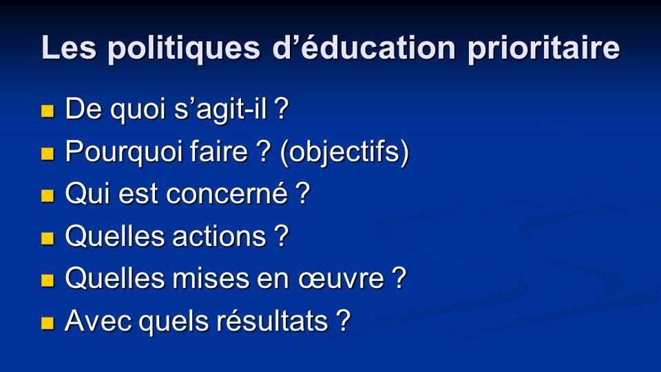 Les politiques déducation prioritaire De quoi sagit-il ? De quoi sagit-il ? Pourquoi faire ? (objectifs) Pourquoi faire ? (objectifs) Qui est concerné
