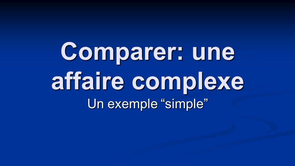 Comparer: une affaire complexe Un exemple simple