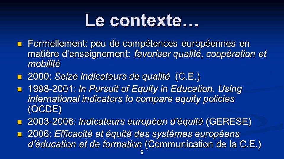 9 Le contexte… Formellement: peu de compétences européennes en matière denseignement: favoriser qualité, coopération et mobilité Formellement: peu de
