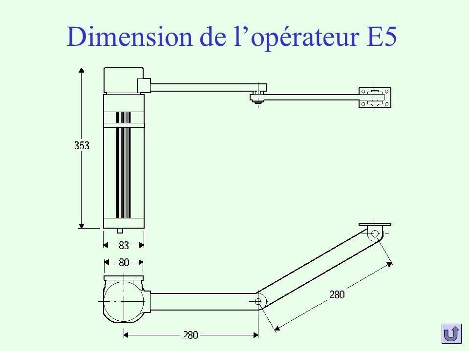 Performances de lopérateur E5 Alimentation monophasée :230 Vac 10%, 50 Hz Puissance absorbée :200 W Protection thermique :intégrée Poids maximal du vantail :2000 N Longueur maximale du vantail :1,80 m Vitesse de rotation :6°/s Réaction à limpact :embrayage mécanique Type de blocage :électro-serrure Manœuvre manuelle :opérateur réversible Nombre de manœuvre en 24 heures :50 Conditions ambiantes :-10° à 60°C Degré de protection :IP44 Masse de lopérateur :8kg