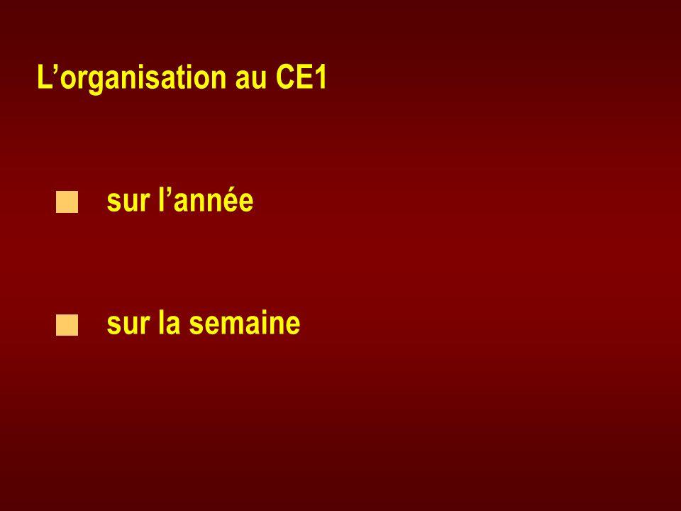 Lorganisation au CE1 sur lannée sur la semaine