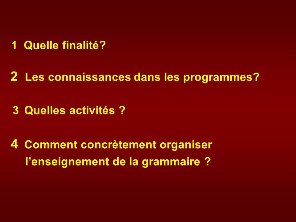 2 Les connaissances dans les programmes? 3 Quelles activités ? 4 Comment concrètement organiser lenseignement de la grammaire ? 1 Quelle finalité?