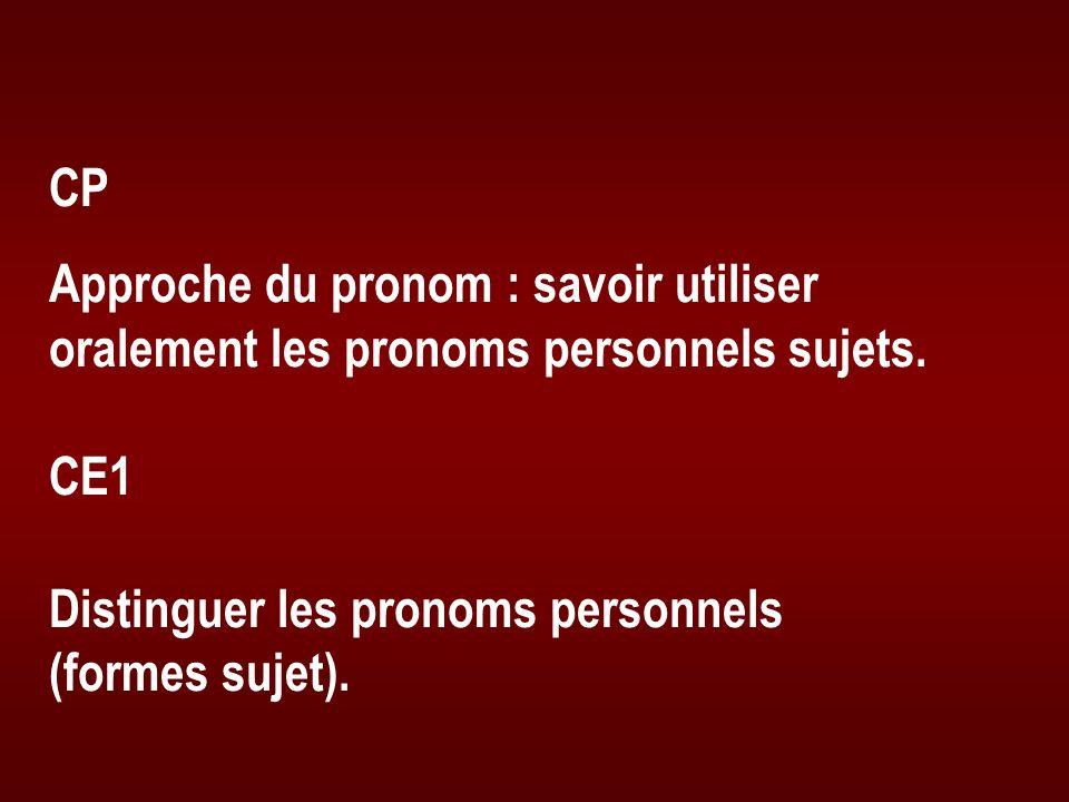 CP Approche du pronom : savoir utiliser oralement les pronoms personnels sujets. CE1 Distinguer les pronoms personnels (formes sujet).