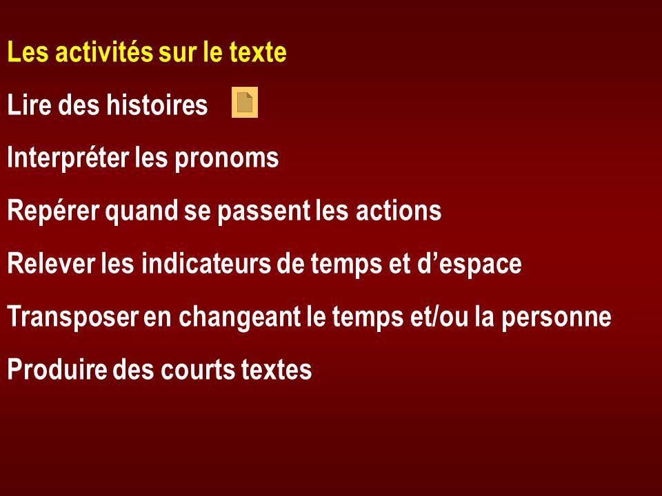 Les activités sur le texte Lire des histoires Interpréter les pronoms Repérer quand se passent les actions Relever les indicateurs de temps et despace