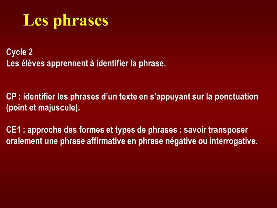 Les phrases Cycle 2 Les élèves apprennent à identifier la phrase. CP : identifier les phrases dun texte en sappuyant sur la ponctuation (point et maju