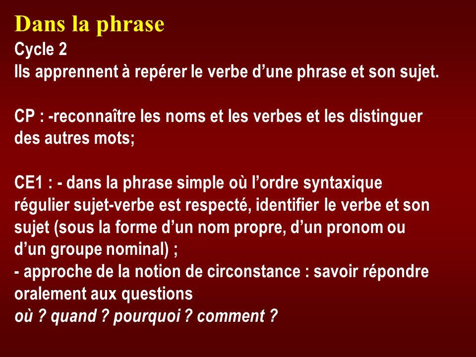 Dans la phrase Cycle 2 Ils apprennent à repérer le verbe dune phrase et son sujet. CP : -reconnaître les noms et les verbes et les distinguer des autr