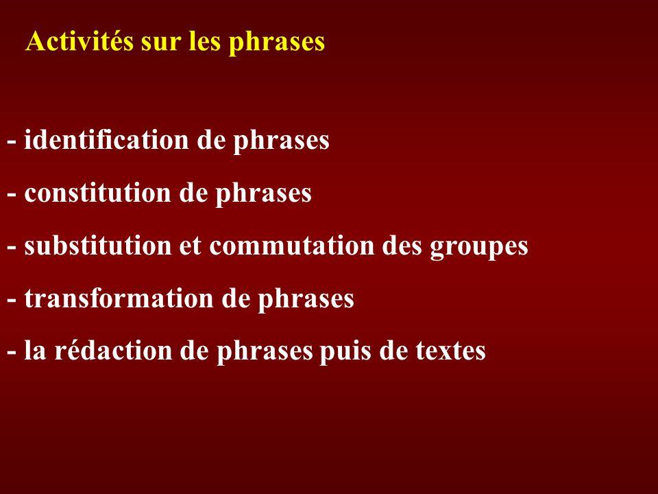 - identification de phrases - constitution de phrases - substitution et commutation des groupes - transformation de phrases - la rédaction de phrases