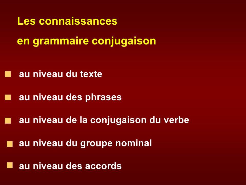 Les connaissances en grammaire conjugaison au niveau du texte au niveau des phrases au niveau de la conjugaison du verbe au niveau du groupe nominal a