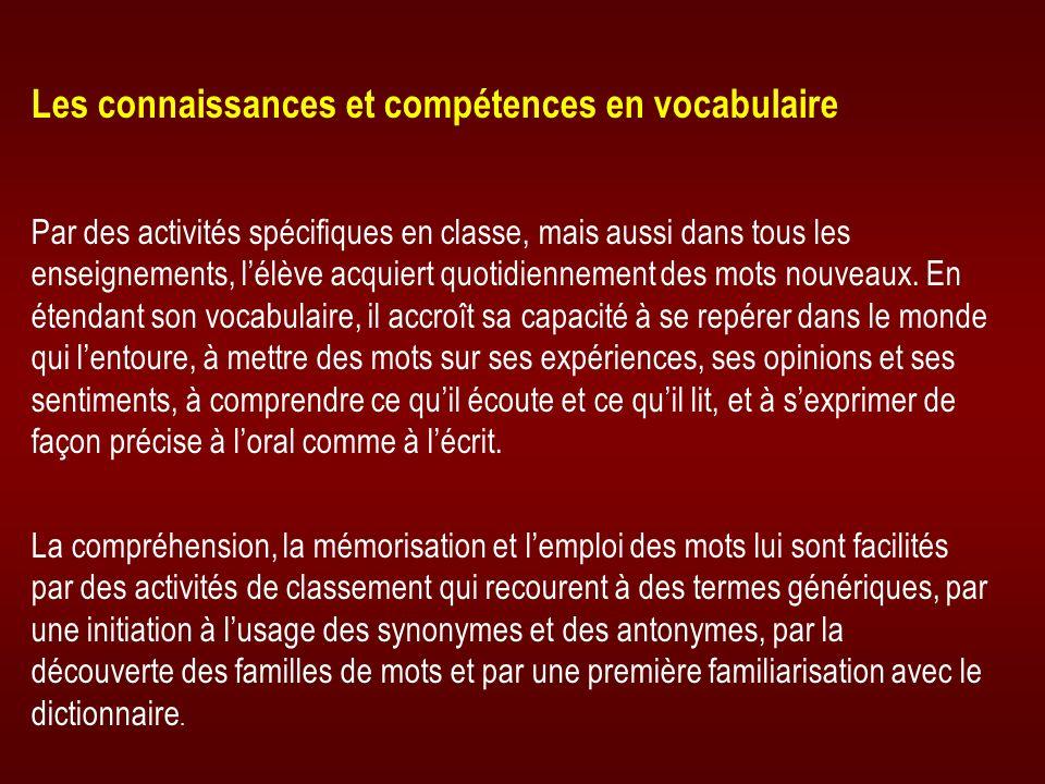Les connaissances et compétences en vocabulaire Par des activités spécifiques en classe, mais aussi dans tous les enseignements, lélève acquiert quoti