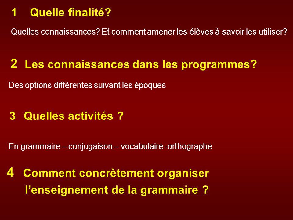 2 Les connaissances dans les programmes? Des options différentes suivant les époques 3 Quelles activités ? En grammaire – conjugaison – vocabulaire -o