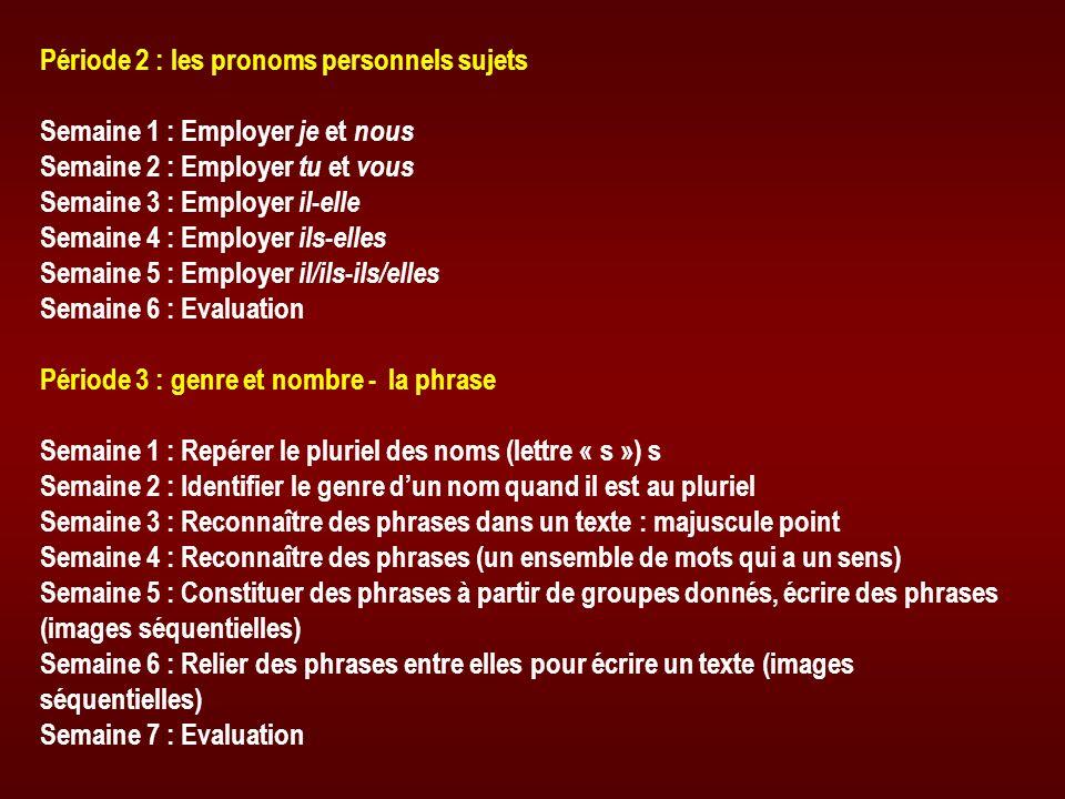 Période 2 : les pronoms personnels sujets Semaine 1 : Employer je et nous Semaine 2 : Employer tu et vous Semaine 3 : Employer il - elle Semaine 4 : E