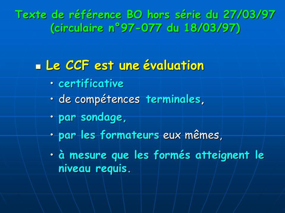 Texte de référence BO hors série du 27/03/97 (circulaire n°97-077 du 18/03/97) Le CCF est une évaluation Le CCF est une évaluation certificativecertif