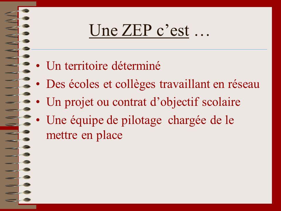 Une ZEP cest … Un territoire déterminé Des écoles et collèges travaillant en réseau Un projet ou contrat dobjectif scolaire Une équipe de pilotage cha