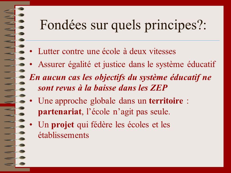 Fondées sur quels principes?: Lutter contre une école à deux vitesses Assurer égalité et justice dans le système éducatif En aucun cas les objectifs d