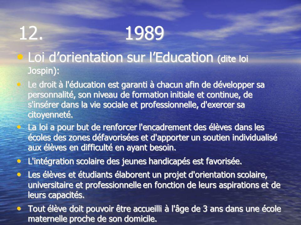 12. 1989 Loi dorientation sur lEducation (dite loi Jospin): Loi dorientation sur lEducation (dite loi Jospin): Le droit à l'éducation est garanti à ch