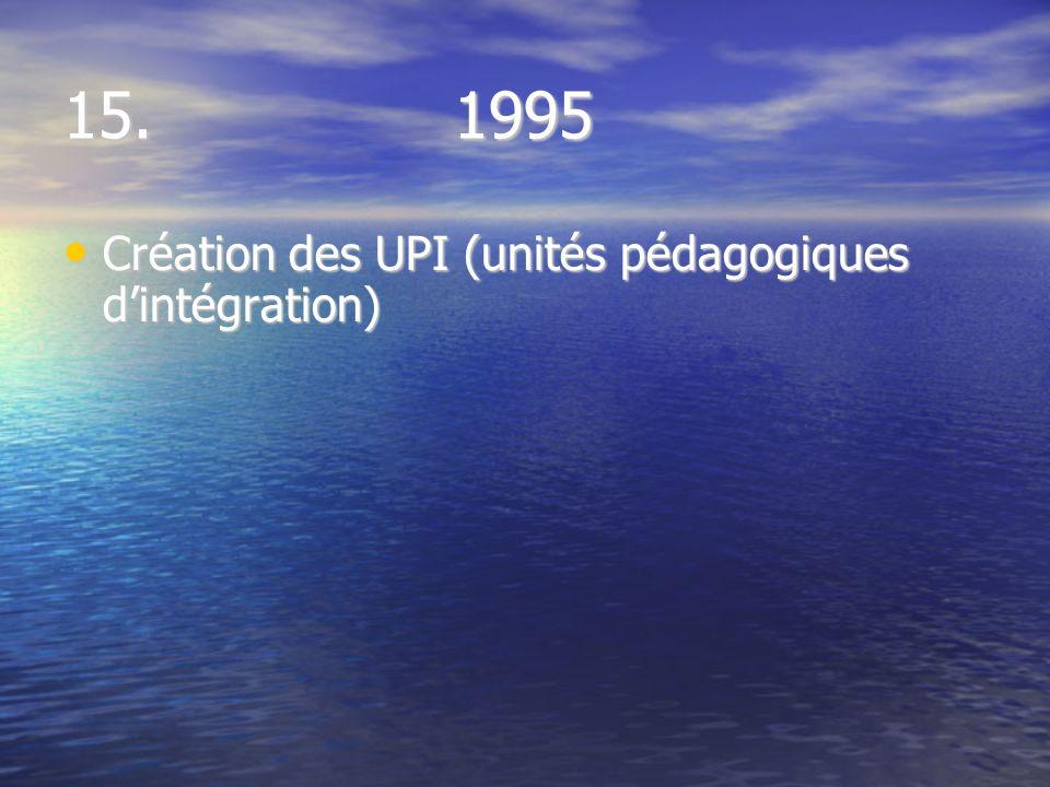 15. 1995 Création des UPI (unités pédagogiques dintégration) Création des UPI (unités pédagogiques dintégration)