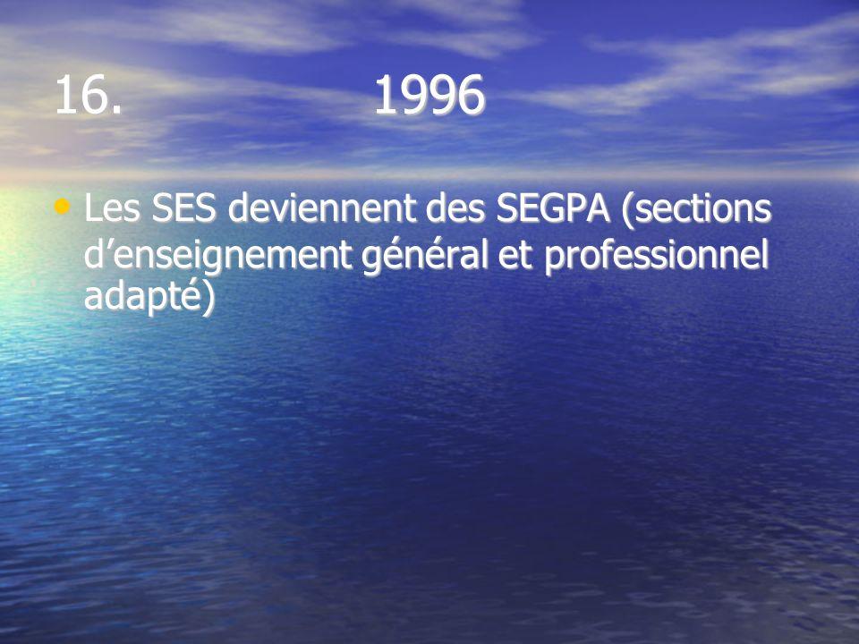 16. 1996 Les SES deviennent des SEGPA (sections denseignement général et professionnel adapté) Les SES deviennent des SEGPA (sections denseignement gé