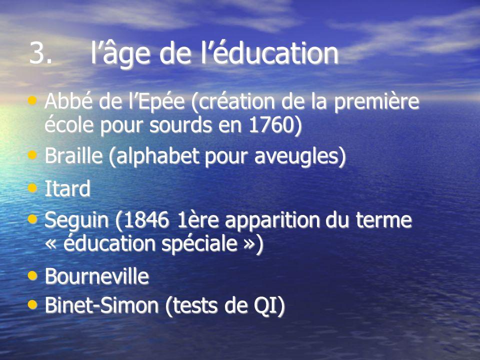 3. lâge de léducation Abbé de lEpée (création de la première école pour sourds en 1760) Abbé de lEpée (création de la première école pour sourds en 17