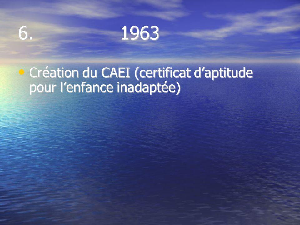 6. 1963 Création du CAEI (certificat daptitude pour lenfance inadaptée) Création du CAEI (certificat daptitude pour lenfance inadaptée)