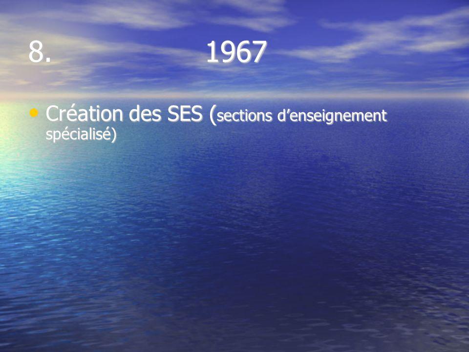 8. 1967 Création des SES ( sections denseignement spécialisé) Création des SES ( sections denseignement spécialisé)