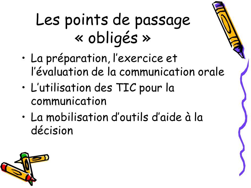 Les points de passage « obligés » La préparation, lexercice et lévaluation de la communication orale Lutilisation des TIC pour la communication La mob