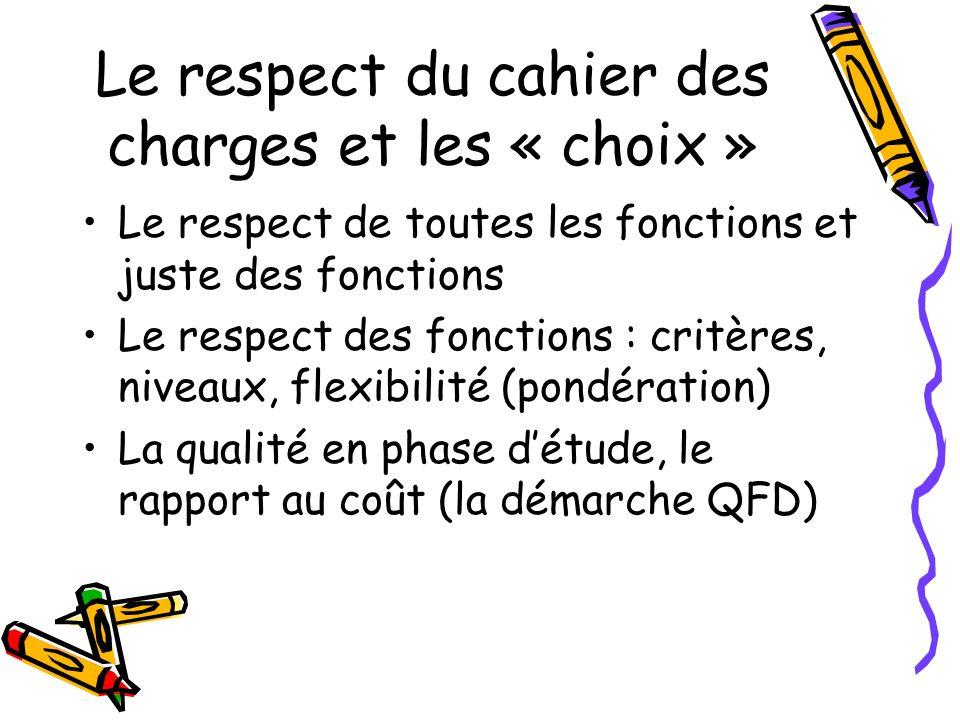 Le respect du cahier des charges et les « choix » Le respect de toutes les fonctions et juste des fonctions Le respect des fonctions : critères, nivea