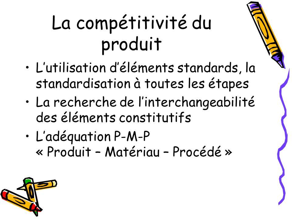 La compétitivité du produit Lutilisation déléments standards, la standardisation à toutes les étapes La recherche de linterchangeabilité des éléments