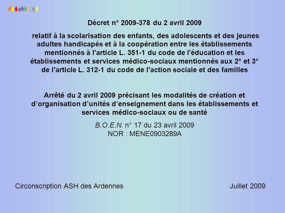 Décret n° 2009-378 du 2 avril 2009 relatif à la scolarisation des enfants, des adolescents et des jeunes adultes handicapés et à la coopération entre