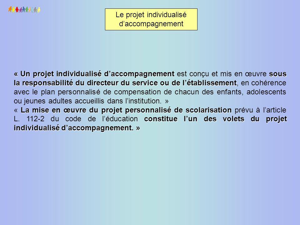 Le projet individualisé daccompagnement « Un projet individualisé daccompagnementsous la responsabilité du directeur du service ou de létablissement «