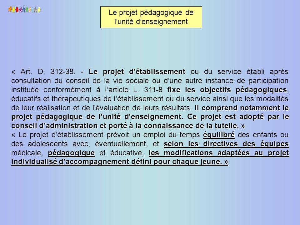 Le projet détablissement fixe les objectifs pédagogiques Il comprend notamment le projet pédagogique de lunité denseignement. Ce projet est adopté par