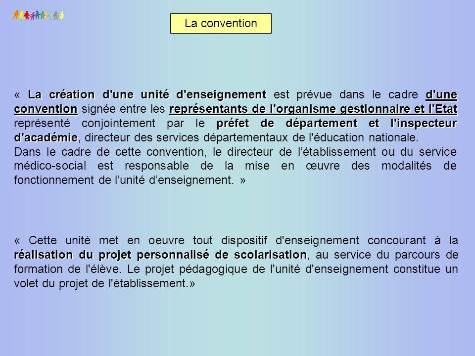 La convention La création d'une unité d'enseignementd'une conventionreprésentants de l'organisme gestionnaire et l'Etat préfet de département et l'ins