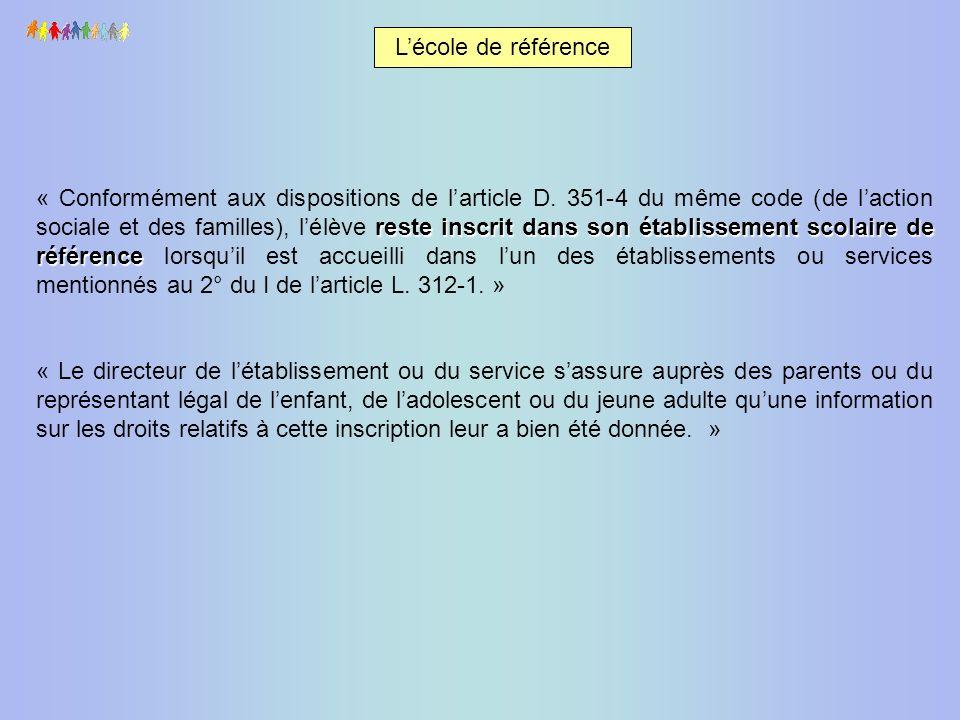 Lécole de référence reste inscrit dans son établissement scolaire de référence « Conformément aux dispositions de larticle D. 351-4 du même code (de l