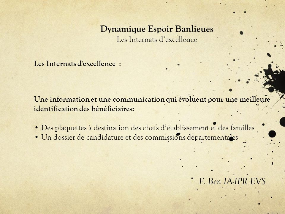 Dynamique Espoir Banlieues Les Internats dexcellence Les Internats d excellence : F.